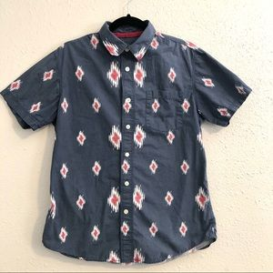 Medium Athletic Fit Button Up Patterned Shirt